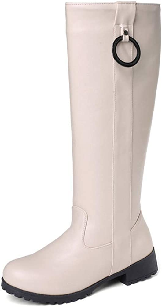 Women Casual Block Low Heel Knee High Boots Waterproof Slip On Lady Round Toe Comfortable Riding Boots