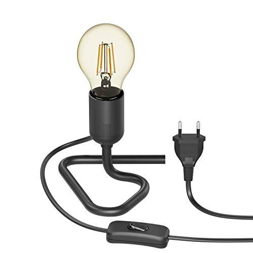 ledscom.de Lámpara de mesa TRIN con enchufe E27 Base triangular negra con enchufe e interruptor + lámpara LED 480lm oro vintage blanco extra-caliente