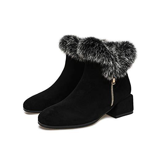 Shukun Enkellaarzen Herfst En Winter Dames Schoenen Martin Konijn Haar Korte Laarzen Katoen Dikke Sneeuw Laarzen Vrouwen Leuke Laarzen