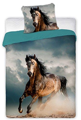 Horses - Funda de edredón de caballos de 140 x 200 cm y funda de almohada, para 1 persona, 100% algodón