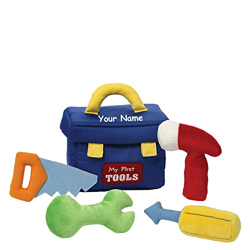 The Trendy Turtle Personalized My First Toolbox Construction Worker Stuffed Plush Playset with Mini Plush Toy 5pc Tool Set