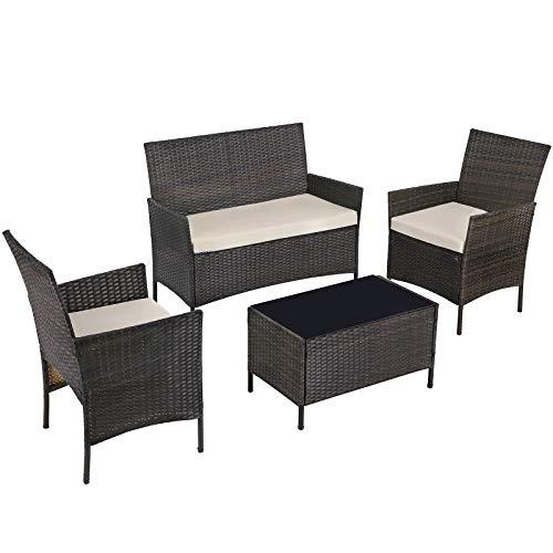 SONGMICS Gartenmöbel-Set aus Polyrattan, Lounge-Set, in Rattanoptik, Terrassenmöbel, Balkonmöbel, für Terrasse, Garten, Balkon, braun-beigeGGF002K02