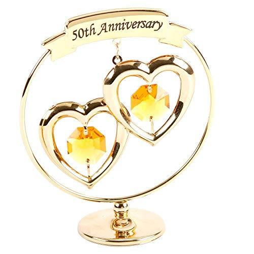 50th Anniversary Gold Plated Keepsake Gift with Swarvoski Crystals