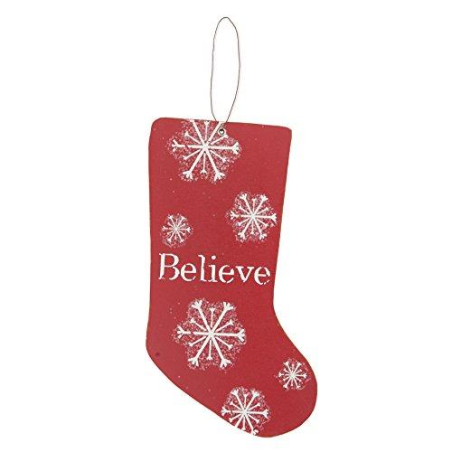 Merry & Bright MDF Rouge Chaussette 'Believe' – Décorations de Noël