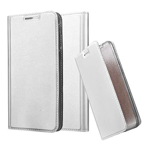 Cadorabo Hülle für HTC Desire 820 - Hülle in Silber – Handyhülle mit Standfunktion & Kartenfach im Metallic Erscheinungsbild - Case Cover Schutzhülle Etui Tasche Book Klapp Style