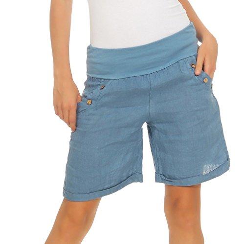 Mississhop 280 Damen Leinenshorts Bermuda lockere Kurze Hose Freizeithose 100% Leinen Shorts mit DREI Knöpfen Sommer Strand Jeansblau XXL