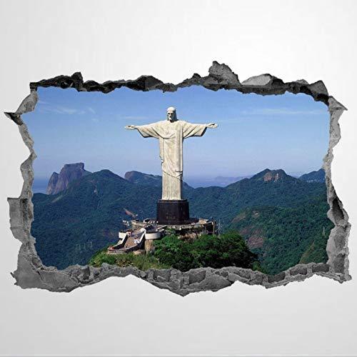 Cristo el Redentor Landmarks estatua Brasil PVC pegatinas de pared y murales, 3D Art Art Wall Decoration, póster extraíble para decoración del hogar para dormitorio, sala de estar, guardería interior.