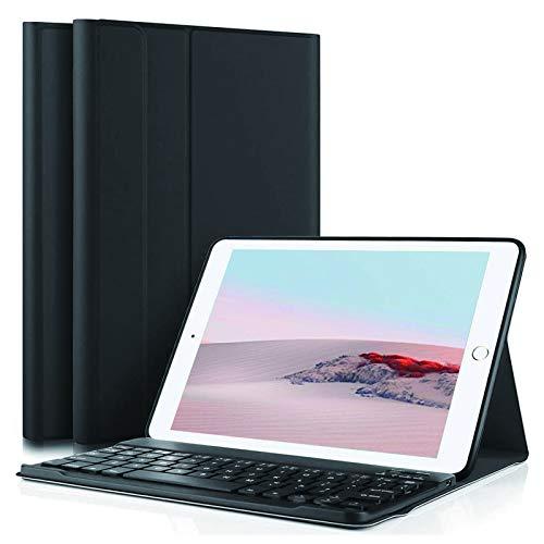 Funda con Teclado para iPad para iPad de 9,7 Pulgadas 2018 (6.a generación) Funda para iPad 2017 (5.a generación) para iPad Pro 9.7 con Teclado inalámbrico Desmontable (Negro)