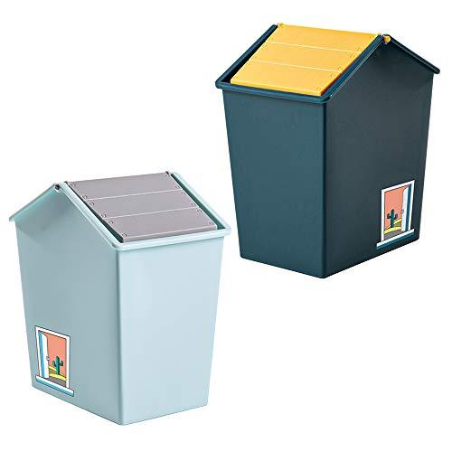Mini Cubo de Basura con Tapa, Contenedor de Cosméticos Pequeño de Plástico de 1,5 l, para Baño, Tocador, Automóvil, Oficina, Encimera, Mesa, Cubo de Basura (Azul Cielo y Verde Oscuro)