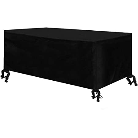 Osarke Funda para muebles de jardín impermeable rectangular para mesa de exterior 420D Oxford negro 180 x 120 x 74 cm