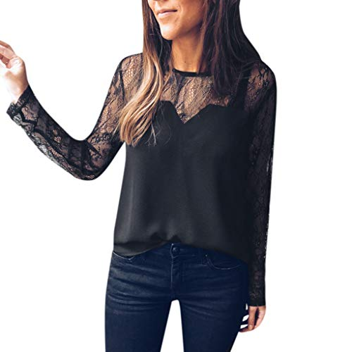 Vectry Camiseta Interior Mujer Manga Larga Blusa Mujer Fiesta Blusa Manga Larga Mujer Blusas De Chica Camiseta Mujer Tirantes con Encaje Blusa con Encaje Blusa Negro