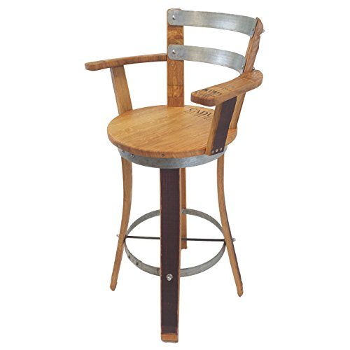 Central Coast Creations Swivel Top Wine Barrel Barstool W Armrest Wine Barrel Furniture (30' Sit Height)