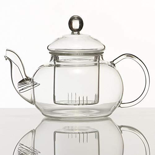 Dimono Mundgeblasene Teekanne mit Teefilter & Teesieb Kanne mit Filtereinsatz aus Glas 1500 ml