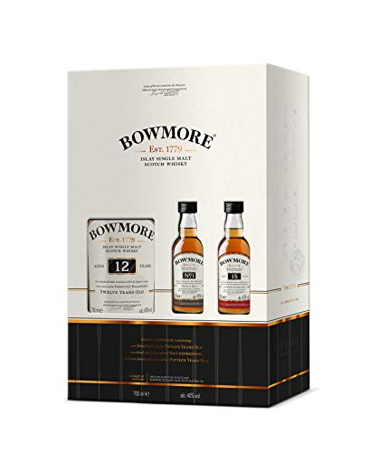 Bowmore 12 Jahre Islay Single Malt Scotch Whisky Geschenkset, 40{28604b63c4e165d38c7e0bdbeaa2ac727f35f6fec8ae7562bb3d67ade54989b1} Vol, 1 x 0,7l, 2 x 0,05l (3er Pack)