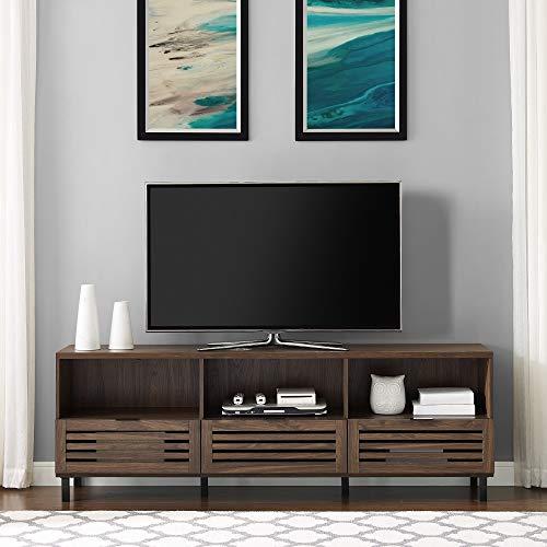 "Walker Edison Modern Slatted Wood 80"" Universal TV Stand for Flat Screen Living Room Storage Cabinets and Shelves Entertainment Center, 70 Inch, Dark Walnut"