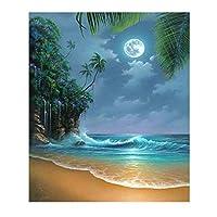 BD-Boombdl キャンバス絵画プリントキャンバスムーンライトビーチリビングルームソファ背景アート壁画寝室装飾40X60cmフレームなし