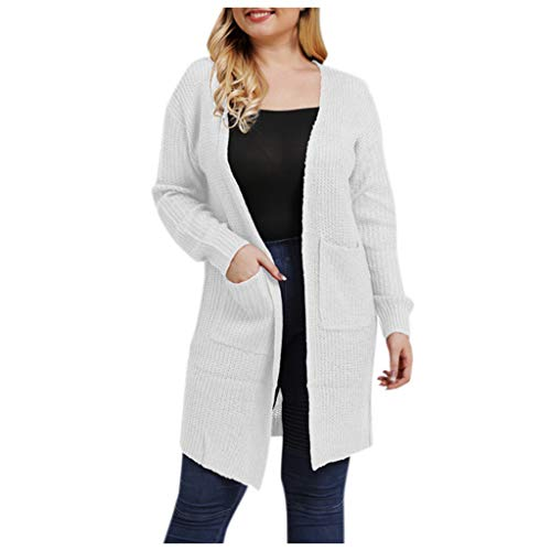 MOTOCO Frauen Plus Size Lange Strickjacke Jacke Casual Langarm Volltonfarbe Tasche Strickjacken Pullover Übergröße(L,Weiß)