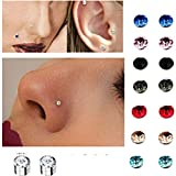 Emivery 5mm Crystal Magnetic Stud Earring Magnet Nose Ear Lip Stud Non Piercing Tragus Nose Stud 8 Pairs/Pack (8 Pairs Multi)