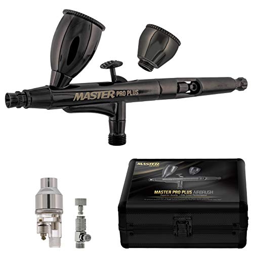 Master Pro Plus Airbrush Set, Model 120 - Elite Level Spray Performance Dual-Action Gravity Feed Airbrush Kit with Case, 0.3mm Tip, 2 Cups, Filter - Auto-Graphics, Art, Cake, Tattoo, Craft Hobby Paint