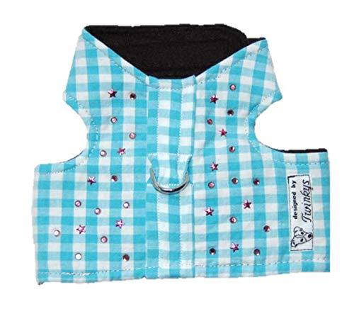 Twinkys Dog Style Hunde Softgeschirr S Babyblau/weiß kariert mit rosa Strass Steinen und Sternen für kleine Hunde Halsumfang 24 cm - 30 cm Brustumfang 35 cm - 43 cm