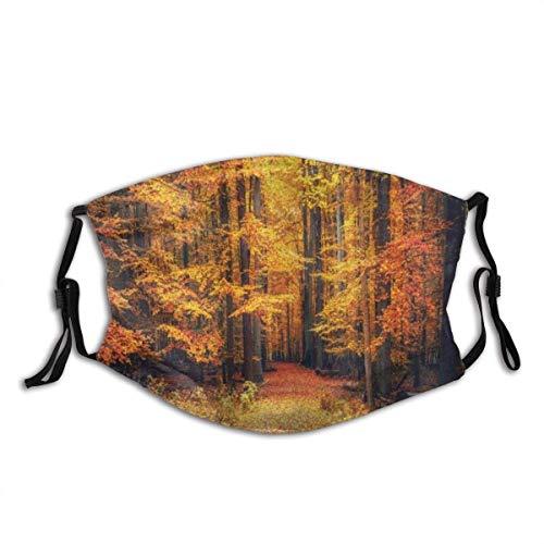 Gesicht Mas-Ke Wald Herbst Foto im Nationalpark mit lebendigen Blatt Pflanze Eco Earth mystisches Thema Sturmhaube Mund Bandanas mit 2 Filtern