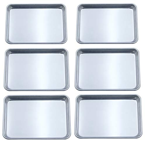 Checkered Chef Quarter Sheet Pan Six Pack - 6 Small Baking Sheets 9 ½ x 13 Inches. Aluminum Rimmed Cookie 1/4 Sheet Pans For Baking
