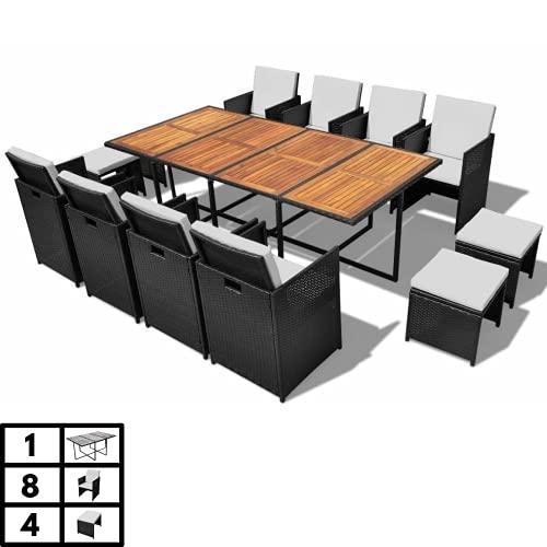 Luxurygarden - Juego de mesa y sillas de jardín de ratán - Juego de comedor de exterior: 8 sillas y 4 taburetes negros - Muebles de jardín plegables - 12 plazas
