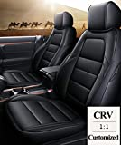 DMZTZMJ CRV Seat Covers Custom Fit Car Seat Cover Compatible with Honda CR-V 2017 2018 2019 2020 2021 Full Set Vehicle Cushion Cover Leatherette, Airbag Compatible(Black)