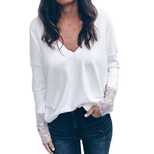 LuckyGirls Tee Shirts Femme Chic Mousseline Fleur Dentelle Patchwork Haut Épaules Nues Tops Décontractée Loose Blouse T-Shirts - Maxi - 5XL (L, Blanc D)