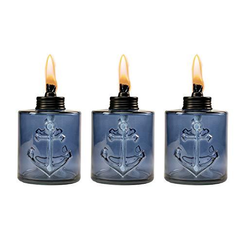 TIKI Brand  1118128 Set Sail Glass Table Torch 3-Pack 5.5-inch, Blue