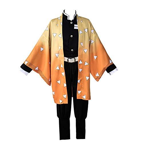 Agatsuma Zenitsu Cosplay Costume Cosplay Ibend Disguise Costumes Anime Kimono 2019 New (S) Orange