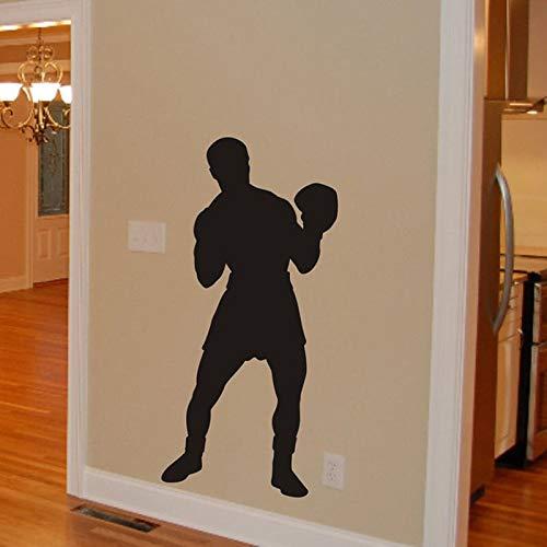 Tianpengyuanshuai Boxer Silhouette Wandtattoo Abnehmbarer Vinyl Boxing Sport Aufkleber 28X57cm
