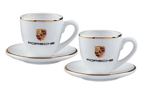 Porsche Espressotassen-Set mit Wappen, weiß/Gold - WAP0505950H
