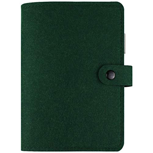 A6 Planner Binder Personal Organizer, 6-Ring Loose Leaf Binder Journal, Refillable 6 Round Ring Binder Cover for A6 Filler Paper, Removable Notebook Spiral Binder with Snap Button,Dark Green