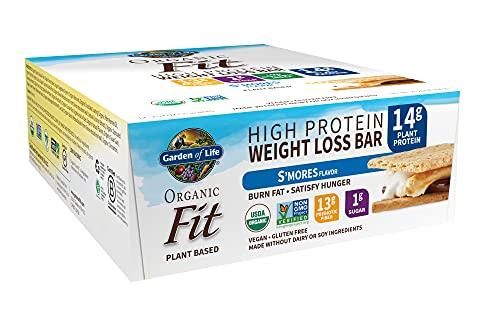 High Protein Bars for Weight Loss - Garden of Life Organic Fit Bar - S'mores (12 per carton) - Burn Fat, Satisfy Hunger and Fight Cravings, Low Sugar Plant Protein Bar with Fiber