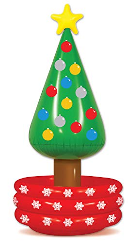 Beistle Inflatable Novelty Christmas Tree Drink Beverage Cooler For Office Holiday Winter Party Decorations, 26' x 56', Multicolored