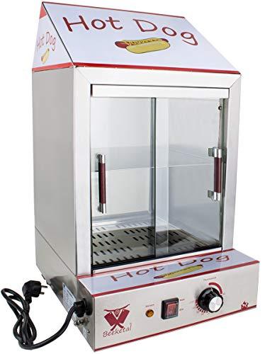 Beeketal 'HDS-2' Profi Gastro Edelstahl Hot Dog Steamer Maker zum Erhitzen und Warmhalten von ca. 100 Hotdog Würstchen und 20 Brötchen, Hotdog Würstchenwärmer und Brötchenwärmer Imbiss Stand Gerät