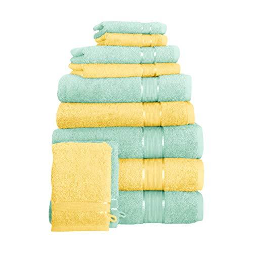Mixibaby Toallas para sauna, baño, baño, baño, toalla de invitados, color amarillo y verde menta