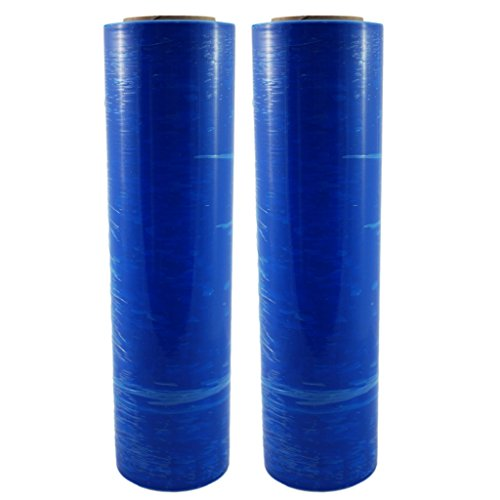 """TOTALPACK - 18"""" x 1000 FT Roll - 85 Gauge Thick + Hybrid Technology, 2 Pack. Stretch Moving & Packing Wrap. Industrial Strength, Blue Plastic Pallet Shrink Film Ideal for Furniture, Boxes, Pallets…"""