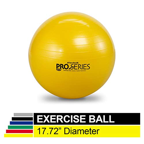 TheraBand Exercise Ball Professional Series Stability Ball with 45 cm Diameter for Athletes 4#0397quot to 5#0390quot Tall Slow Deflate Fitness Ball for Improved Posture Balance Yoga Pilates Core Yellow