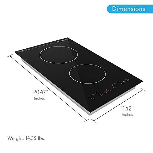 Product Image 2: NutriChef – Dual 120V Electric Induction Cooker – 1800w Digital Ceramic Countertop Double Burner Cooktop – Black