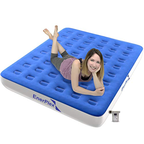 EnerPlex Never-Leak Camping Series Queen Camping Airbed with High Speed Pump Luxury Queen Size Air Mattress Single High Inflatable Blow Up Bed for Home Camping Travel – Blue/White