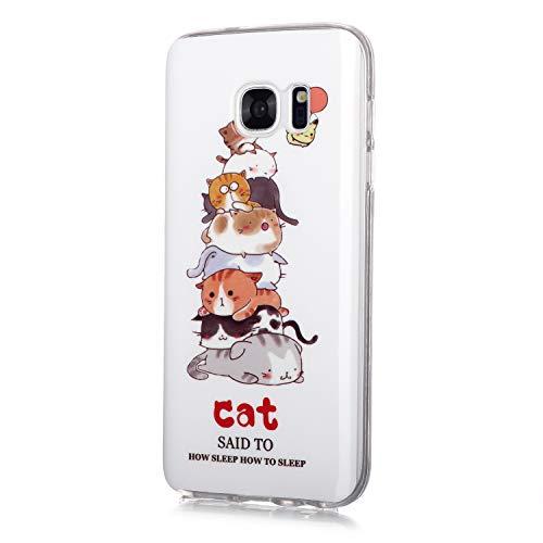 Fatcatparadise Funda para Galaxy S7 Edge [con Protector Pantalla], Carcasa Silicona Claro de Luna Protector TPU Suave Anti-Choque Ultra-Delgado Funda para Apple Samsung Galaxy S7 Edge(Gato)