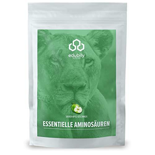 edubily® veganes EAA Pulver • Hochwertiger EAA-Komplex aus 8 essentiellen Aminosäuren • Mit leckeren Geschmacksrichtungen • 100{6c000d70d75b2308523022b2c3b5a2f13aaae7f8a0117b59c46373d0a0fea46b} Recyclingfähig