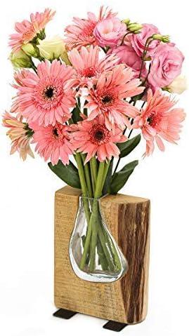 Grandsky GS100 Carved Glass and Rustic Wood Some reservation Vase Flower Philadelphia Mall Dec