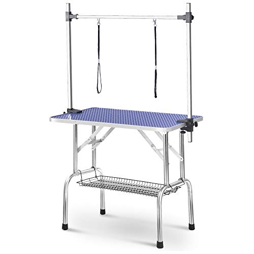 BOKESI Folding Dog Pet Grooming Table Heavy Duty Stainless Steel pet Dog Cat Grooming Table