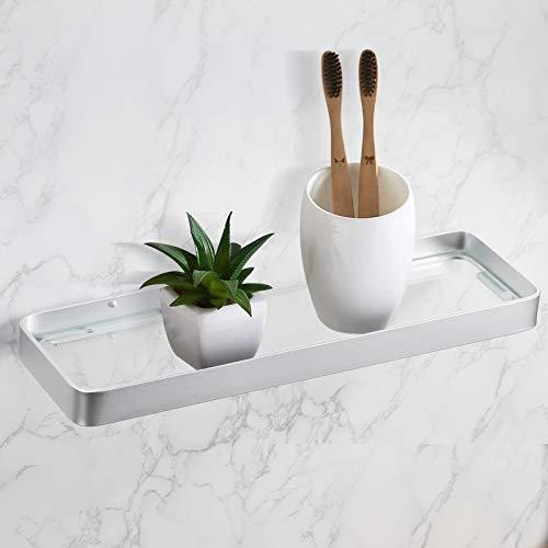 KINLO Estantería de baño y estantes sin taladrar, con cristal templado para ducha, autoadhesiva, de aluminio, para la pared, para cocina, baño, 35 cm, color plateado