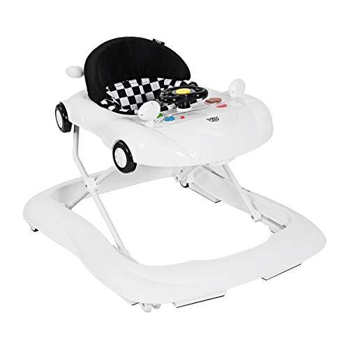 GOPLUS Baby Lauflernhilfe, Höhenverstellbare & faltbare Gehhilfe, mit bequemem Sitzkissen, Lauflernwagen mit Musik & Anti-Rutsch-Funktion, Baby Walker für 6-18 Monate, 78x64x55cm (Weiß)