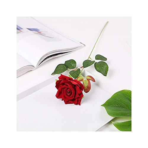 Lou Chapman 1Pc Rote Rosen Zweige Silk künstliche Blumen Simulation Flanell Rose Blumen Hochzeit Dekoration Wohnkultur, Flanell-Rot