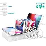 TechDot Estación de Carga USB, Varios Dispositivos, 6 Puertos USB, multiestación de Carga para teléfonos móviles, Smartphones y Tablets (con 5 Cables Cortos, Color Blanco)
